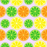 Seamless fruits vector pattern, bright colorful background with oranges, lemons and limes over light backdrop Royalty Free Stock Image
