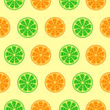 Seamless fruits vector pattern, bright colorful background with oranges and limes over light backdrop Royalty Free Stock Photos