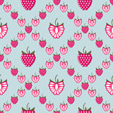 Seamless fruits vector pattern, bright geometric background with raspberries Stock Photo