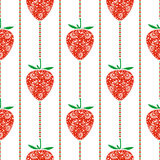 Seamless fruits vector pattern, bright symmetrical background with closeup decorative ornamental strawberries and lines. On the white backdrop. Series of Stock Image