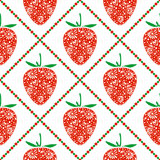Seamless fruits vector pattern, bright symmetrical background with closeup decorative ornamental strawberries and rhombus Stock Images