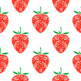 Seamless fruits vector pattern, bright symmetrical background with closeup decorative ornamental strawberries, on the white backdr Stock Image