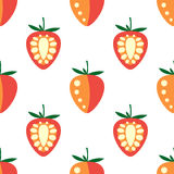 Seamless fruits vector pattern, bright symmetrical background with closeup strawberries, on the white backdrop.  Stock Photo