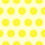 Seamless fruits vector pattern, bright symmetrical background with lemons over yellow backdrop Stock Images