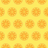 Seamless fruits vector pattern, bright symmetrical background with oranges over light orange backdrop Stock Photos