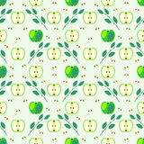 Seamless fruits vector pattern, geometric background with green apples and leaves Royalty Free Stock Photography