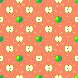 Seamless fruits vector pattern, geometric background with grin apples and bones, whole and half, over light red backdrop.  stock illustration