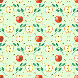 Seamless fruits vector pattern, geometric background with red apples and leaves Royalty Free Stock Images