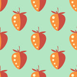 Seamless fruits vector pattern, pastel symmetrical background with closeup strawberries, on the green backdrop.  Stock Images