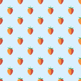 Seamless fruits vector pattern, pastel symmetrical background with strawberries, on the light blue backdrop.  Royalty Free Stock Images