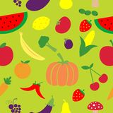Seamless fruits and vegetables pattern Royalty Free Stock Photos