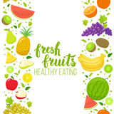 Seamless fruits vertical border Royalty Free Stock Photo