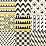 Seamless fun geometric mesh pattern. Set vector illustration