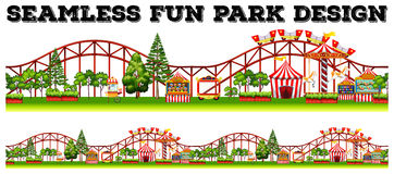 Seamless fun park design with many rides Stock Photography