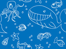 Seamless fun sea creatures. Doodle Stock Photography