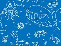 Seamless fun sea creatures Stock Photography