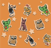 Seamless funny animals stickers pattern Royalty Free Stock Photo