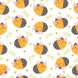 Seamless funny bee pattern. Vector illustration Royalty Free Stock Images