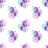 Seamless with funny cartoon beautiful little horses. Royalty Free Stock Photo