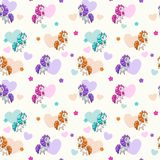 Seamless with funny cartoon beautiful little horses. Royalty Free Stock Images