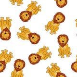 Seamless Funny Cartoon Lion Royalty Free Stock Photos