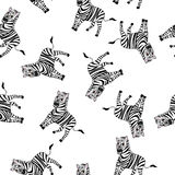 Seamless Funny Cartoon Zebra Stock Photos
