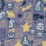 Seamless funny doodles. Funny doodles. A seamless pattern Royalty Free Stock Photos
