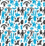 Seamless funny doodles pattern Royalty Free Stock Images