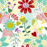 Seamless funny floral pattern Royalty Free Stock Photo