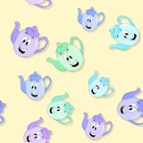 Seamless funny kettles pattern with drop shadow Royalty Free Stock Photo