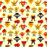 Seamless funny monsters pattern Royalty Free Stock Image