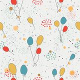 Seamless Funny Pattern with colorful balloons on dotted backgrou Royalty Free Stock Photo