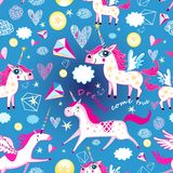 Seamless funny pattern from unicorns vector illustration