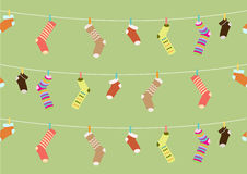 Seamless of funny socks on green backgrounds,Vector illustrations Stock Photo