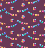 Seamless Funny Texture with Colorful Buntings for Holiday Royalty Free Stock Photo