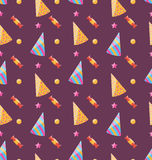 Seamless Funny Texture with Party Hats and Sweets Royalty Free Stock Photos