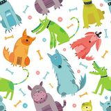 Seamless Funny vector dogs. Stock Photo