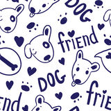 Seamless funny vector pattern with cute dogs in sketch style Stock Photos