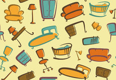 Seamless furniture background Stock Images