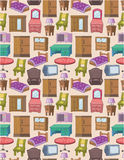Seamless Furniture Pattern Stock Images