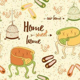 Seamless furniture pattern with cute colorful chairs, birds cage, home shoes and phrase 'Home sweet home'. Stock Photography
