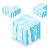 Seamless Game block Isometric Cubes, nature unending iceberg glacier Stock Images