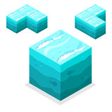 Seamless Game block Isometric Cubes, nature unending water, sea Royalty Free Stock Image