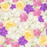 Seamless garden flowers background. Stock Photos