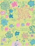 Seamless garden pattern. Vector seamless pattern. flowers and curls on green Stock Photos