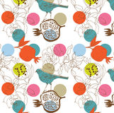 Seamless garden pattern. A seamless pattern of fruit, birds and flowers Royalty Free Stock Photos