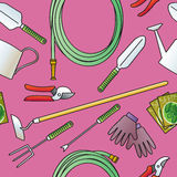 Seamless Garden Tools Stock Photo