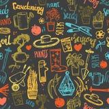 Seamless gardening background pattern. Hand drawn gardening creative design. Stock Image