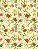 Seamless gardening pattern. Drawing Royalty Free Stock Photos