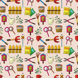 Seamless gardening pattern Stock Photos